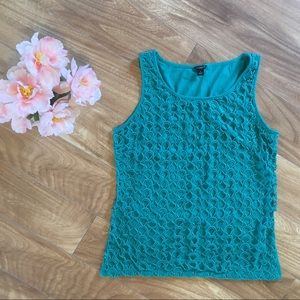 Ann Taylor Tank Top Blue Green Size Small